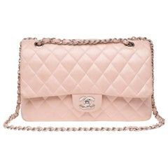 Chanel Timeless medium handbag in pink quilted leather and silver hardware