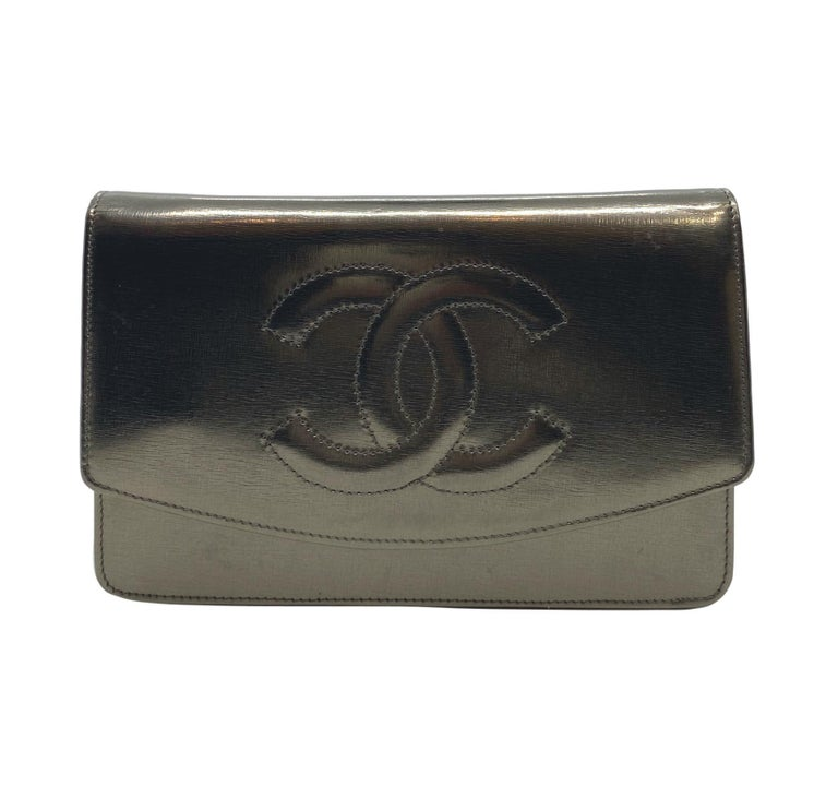 Black Chanel Timeless Metallic Leather Wallet on Chain Shoulder Clutch Bag, 2008. For Sale