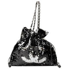 Chanel Timeless Metallic Sequin Drawstring Cc Reversible Large Rare Silver Tote