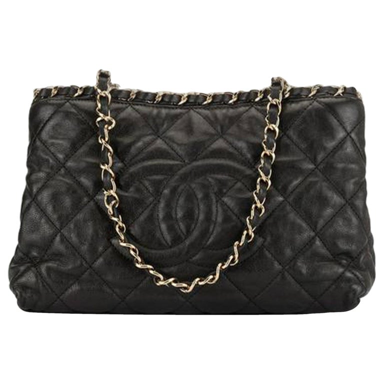 Chanel Timeless Mini Chain Around Shopper Caviar Gst Gold Hardware Black Bag For Sale
