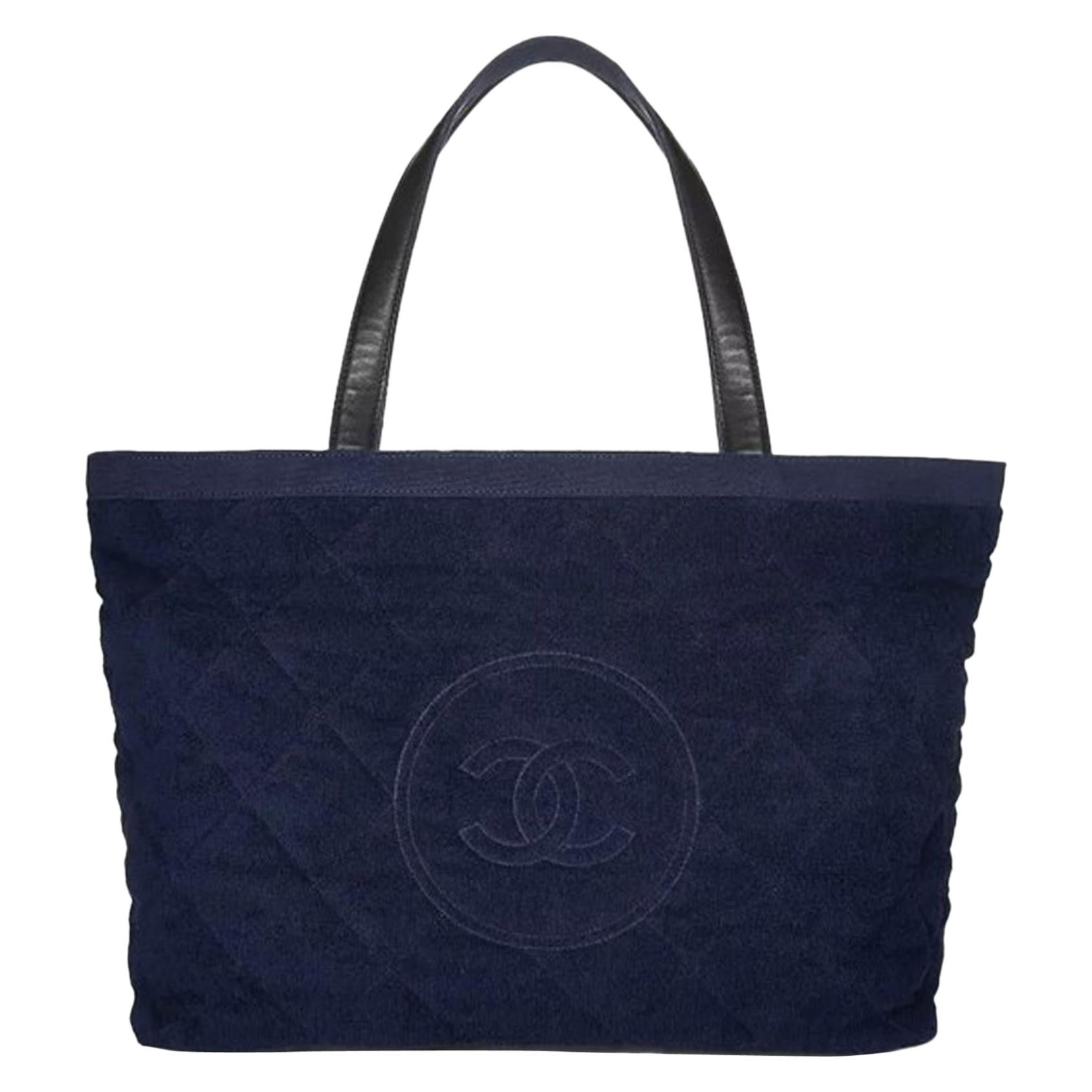 Chanel Timeless Pool Limited Edition Navy Blue Terry Tote Beach Bag