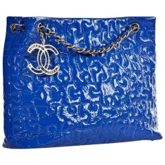 Chanel Timeless Puzzle Blue Patent Leather Tote