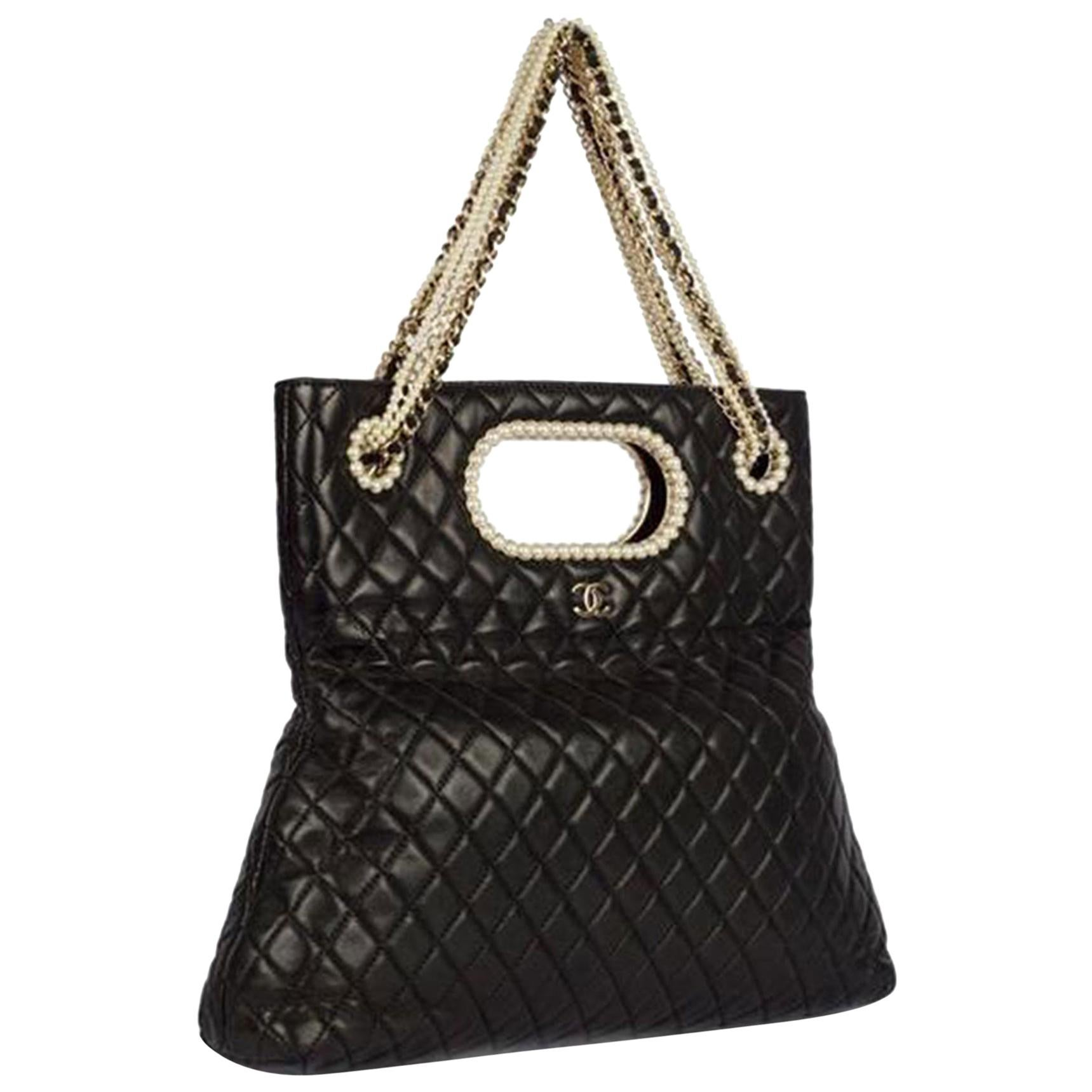 Chanel Timeless Rare Pearl Black Lambskin Shoulder Bag Tote & Minaudière Clutch
