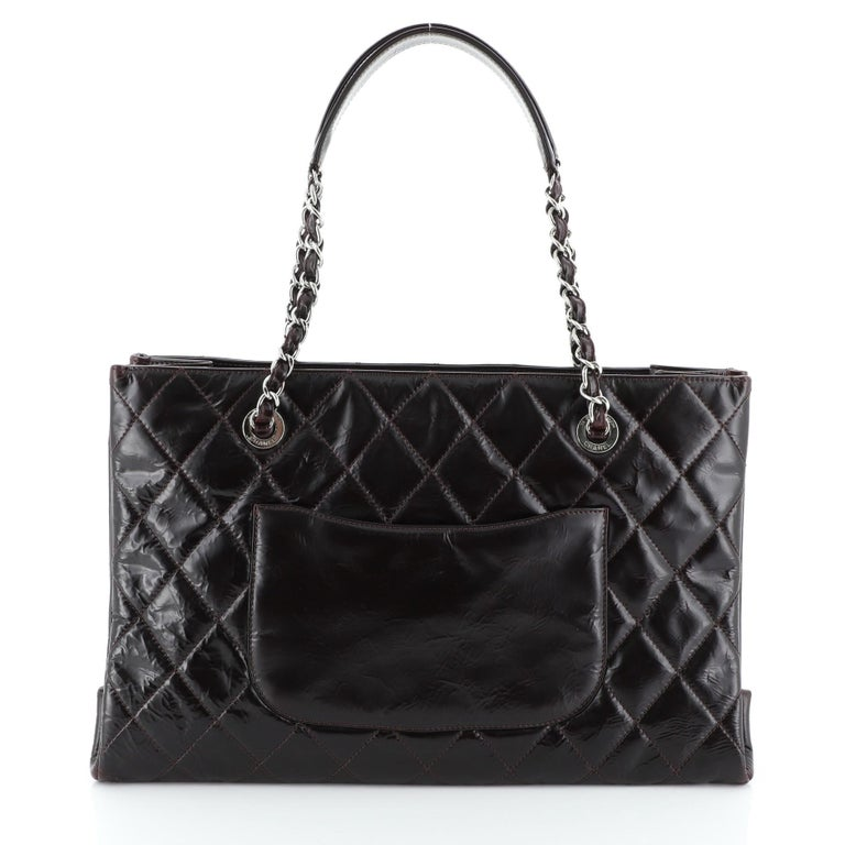 Chanel Timeless Shopping Tote Quilted Glazed Calfskin Large In Good Condition For Sale In New York, NY