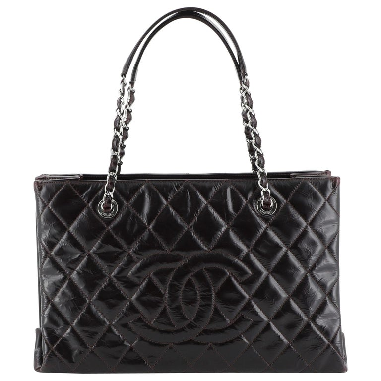 Chanel Timeless Shopping Tote Quilted Glazed Calfskin Large For Sale