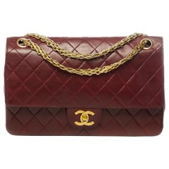 Chanel Timeless shoulder bag in burgundy quilted leather with gold hardware