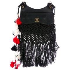 Chanel Timeless Tote Dubai Resort Runway Fringe Crochet Pom Pom Black Bag