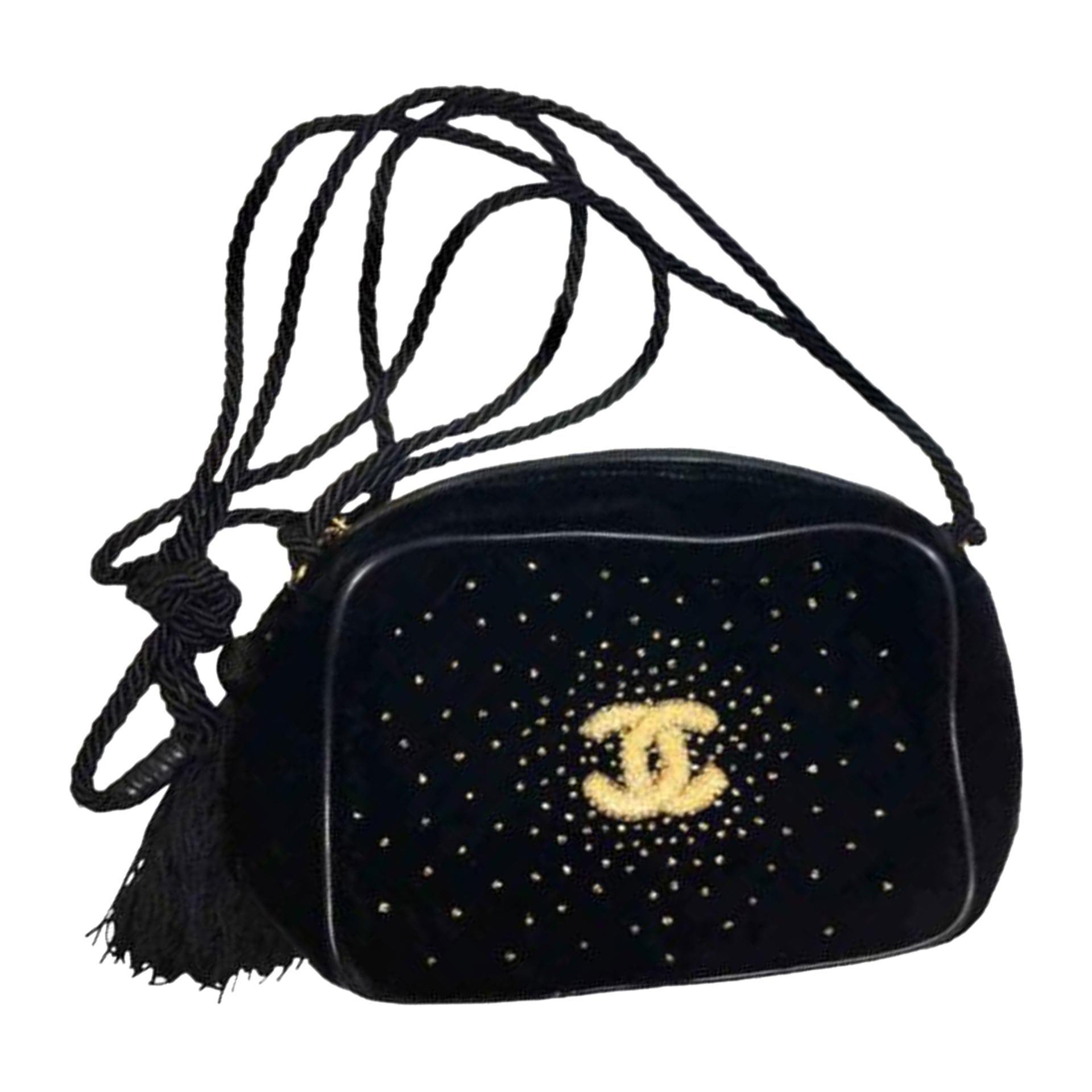 Chanel Timeless Tote Ultra Rare 1989 Mini Vintage Fringe Beaded Tassel Black Bag