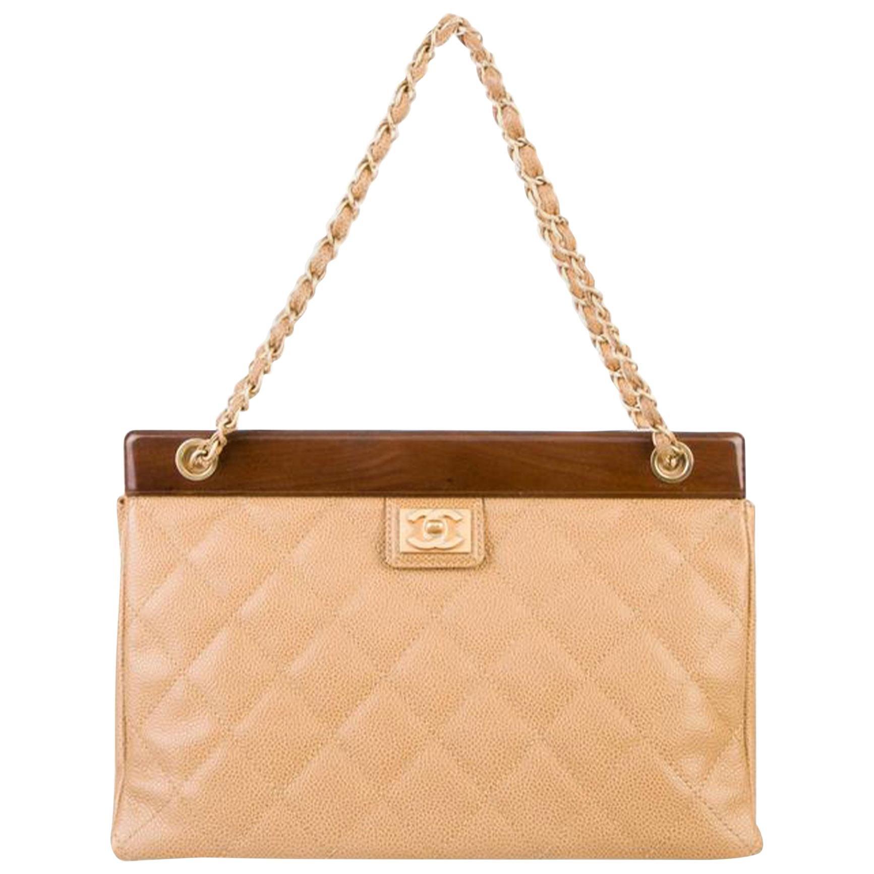 Chanel Timeless Tote Vintage Wood Medium Beige Caviar Leather Shoulder Bag