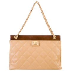 Chanel Timeless Tote Vintage Wood Medium Beige Caviar Leather Shoulder Bag