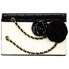 Chanel Timeless Tweed Iconic Camelia Flower Bicolor Black & White Leather Clutch