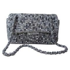 CHANEL Timeless Tweed Rhinestone Flap Bag Handbag