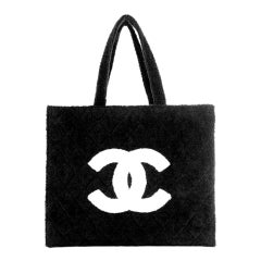 Chanel Timeless Vintage Cc Tote Towel Rare Piece Black Terry Cloth Beach Bag