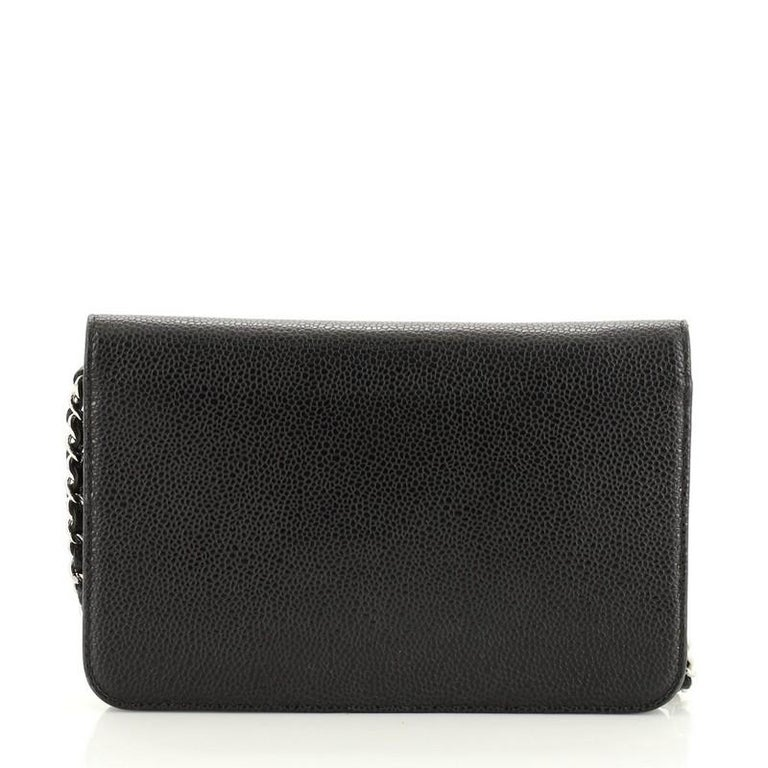 Black Chanel Timeless Wallet on Chain Caviar For Sale