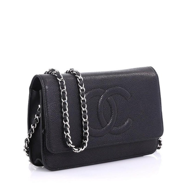 aff41f57b37f Black Chanel Timeless Wallet on Chain Caviar For Sale