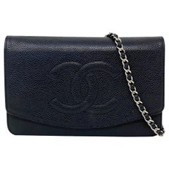 Chanel Timeless WOC Wallet on Chain SHW Caviar Leather Crossbody Bag