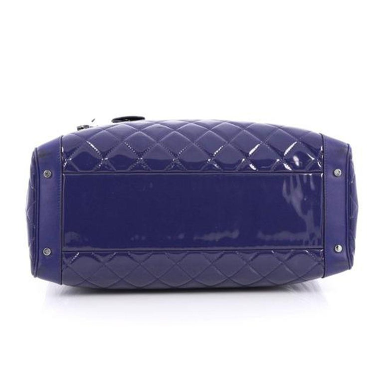 Women's or Men's Chanel Timeless XL Quilted Carry-on Tote Royal Blue Patent Leather Bag For Sale