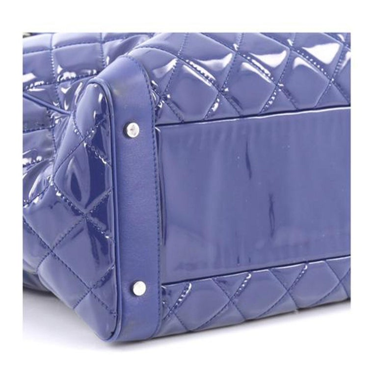 Chanel Timeless XL Quilted Carry-on Tote Royal Blue Patent Leather Bag For Sale 1