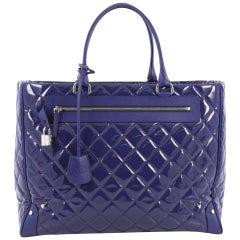 Chanel Timeless XL Quilted Carry-on Tote Royal Blue Patent Leather Bag