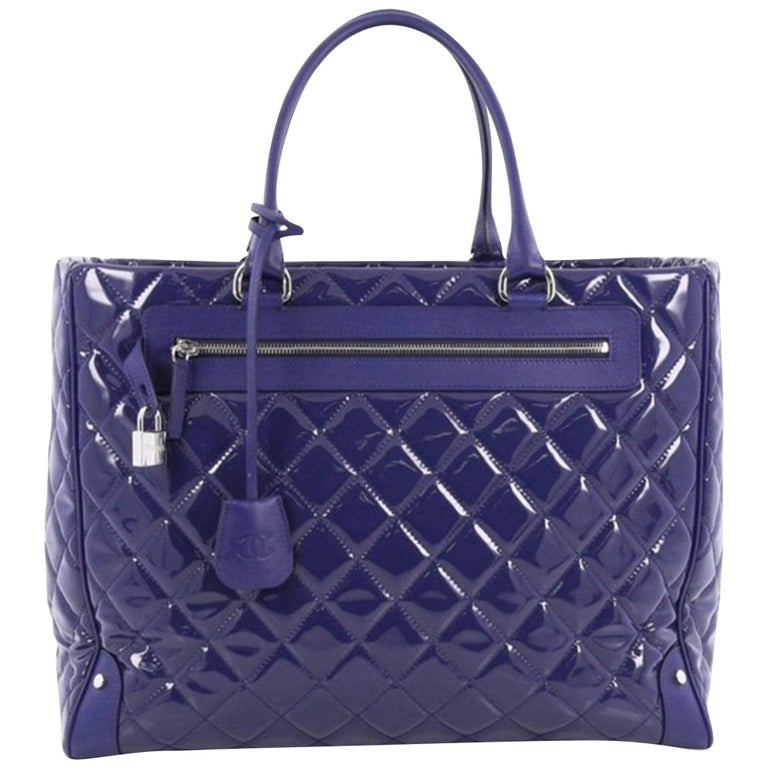 Chanel Timeless XL Quilted Carry-on Tote Royal Blue Patent Leather Bag For Sale