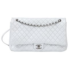 Chanel Timeless XXL Silver leather Bag