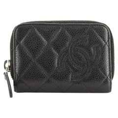 Chanel Timeless Zip Around Coin Purse Quilted Caviar