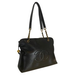 Chanel Timeless Zip Large Black Caviar Leather Tote, 1994