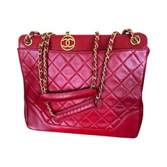 Chanel Tomato Red Vintage Lambskin Leather Quilted Tote Bag with Gold Hardware
