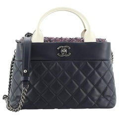 Chanel Top Handle CC Tote Quilted Calfskin with Tweed Small