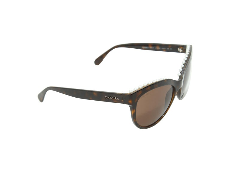 Brown Chanel Tortoiseshell Pearl Trim Butterfly Shaped Sunglasses For Sale