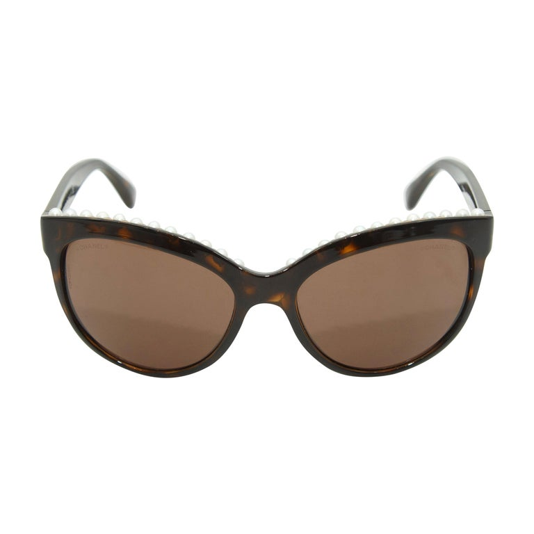 Chanel Tortoiseshell Pearl Trim Butterfly Shaped Sunglasses For Sale