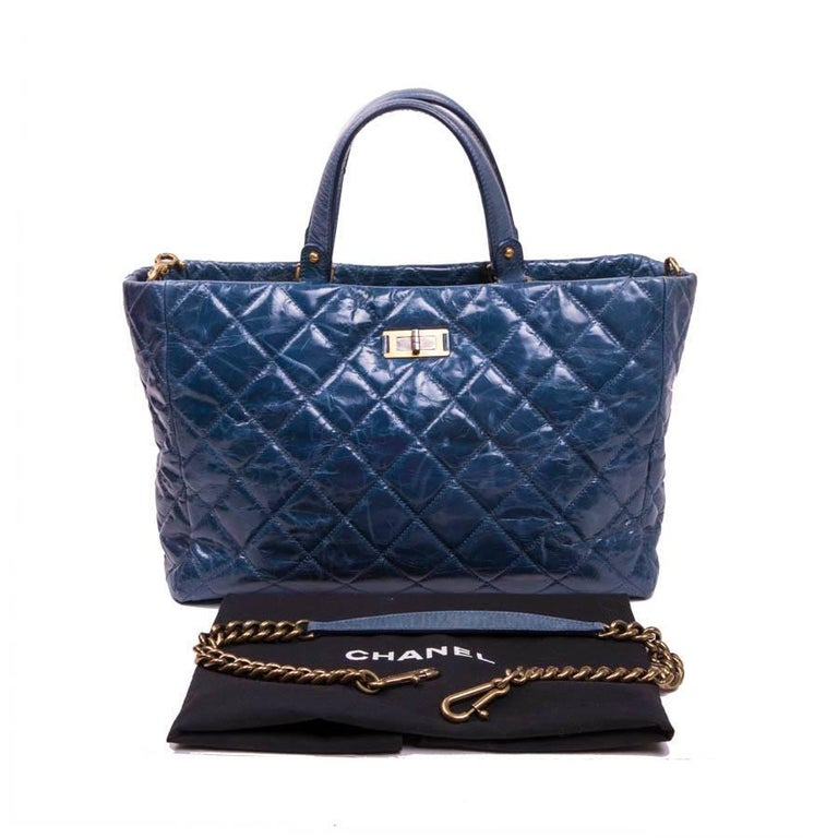 c450aacaabee Chanel Aged Blue Quilted Leather Tote Bag For Sale at 1stdibs