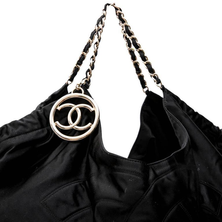 CHANEL Tote Bag in Black Duchess Satin For Sale 6