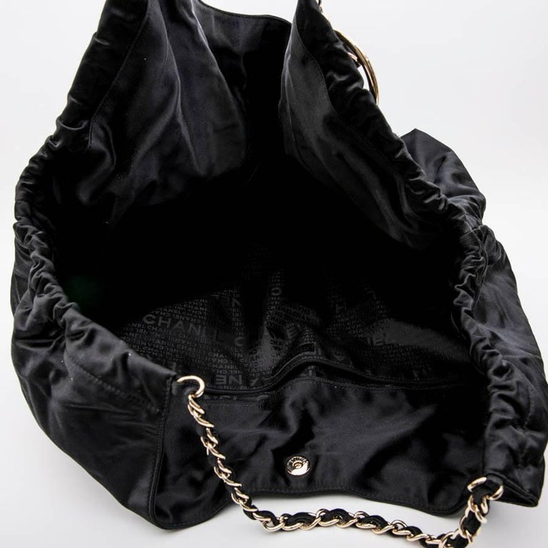CHANEL Tote Bag in Black Duchess Satin For Sale 7
