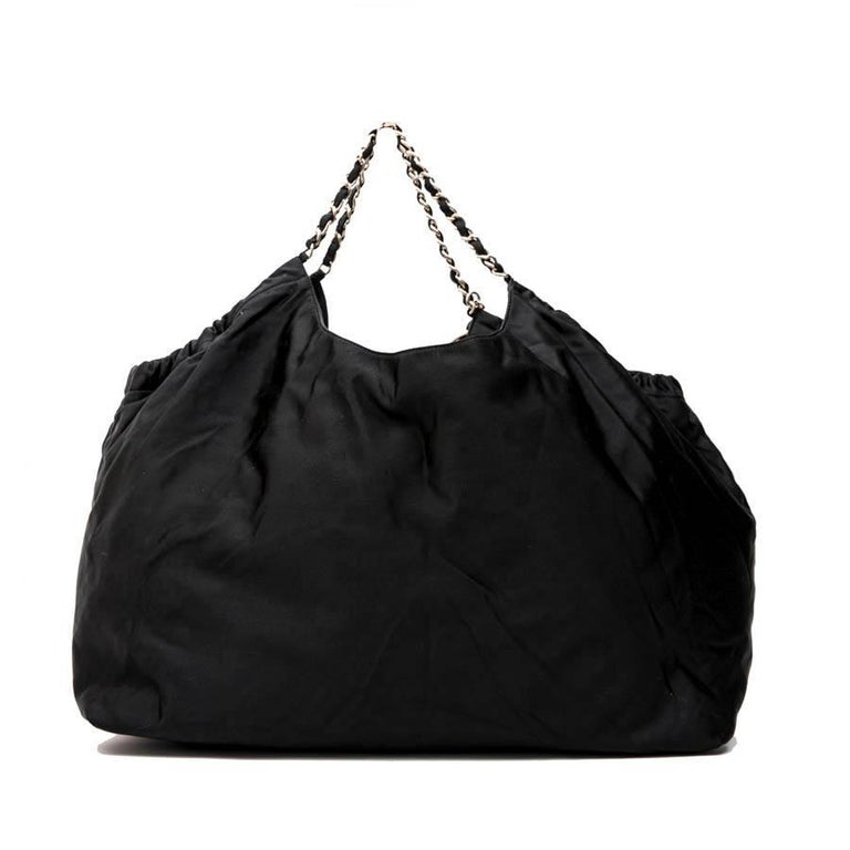 Women's CHANEL Tote Bag in Black Duchess Satin For Sale