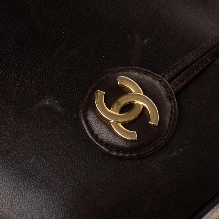 Chanel Tote bag in brown lambskin, gold hardware ! For Sale 1