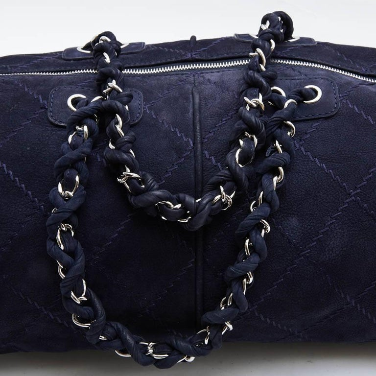 CHANEL Tote Bag in Navy Blue Quilted Suede For Sale 1
