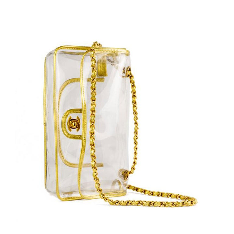 Chanel Transparent Naked Classic Gold Vintage Flap Bag In Good Condition For Sale In Miami, FL