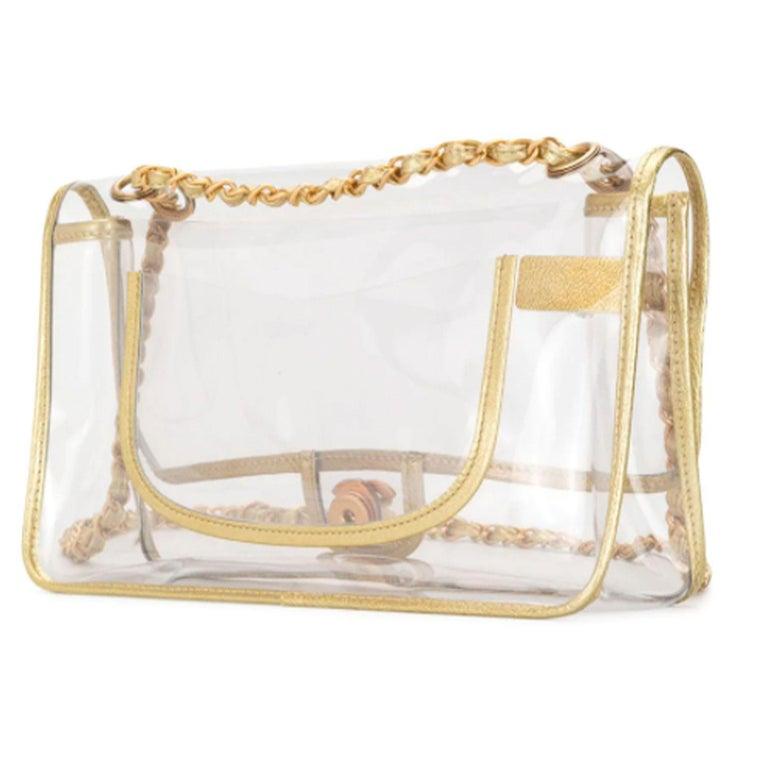 Women's or Men's Chanel Transparent Naked Classic Gold Vintage Flap Bag For Sale