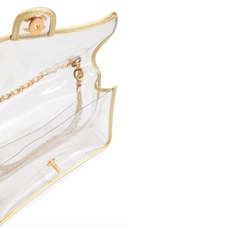 Chanel Transparent Naked Classic Gold Vintage Flap Bag For Sale 2