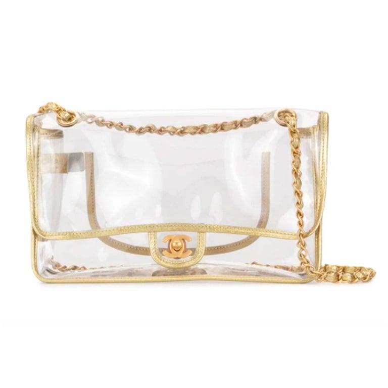 Chanel Transparent Naked Classic Gold Vintage Flap Bag For Sale 3