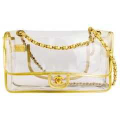 Chanel Transparent Naked Classic Gold Vintage Flap Bag
