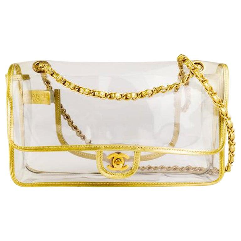 Chanel Transparent Naked Classic Gold Vintage Flap Bag For Sale
