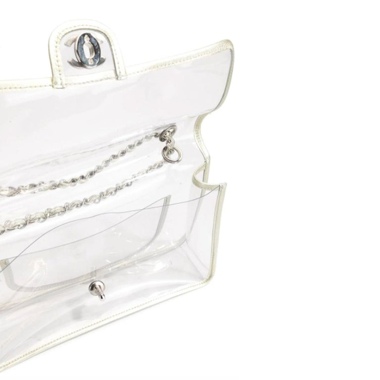 Chanel Transparent Naked Classic Silver Vintage Flap Bag In Good Condition For Sale In Miami, FL