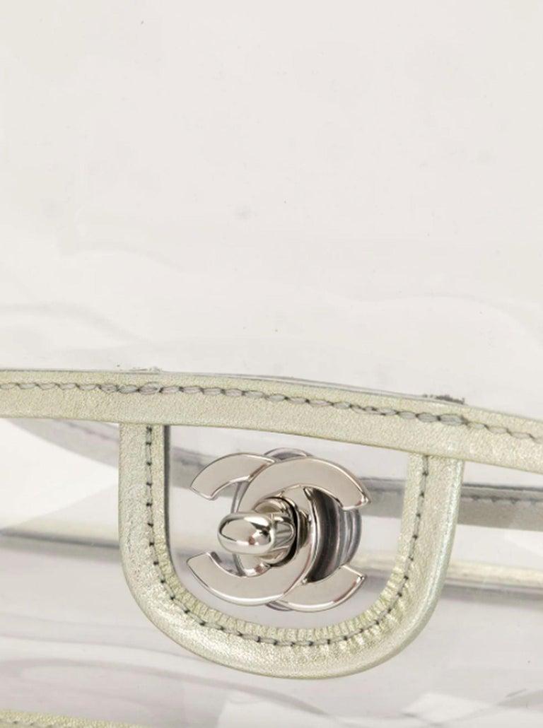 Women's or Men's Chanel Transparent Naked Classic Silver Vintage Flap Bag For Sale