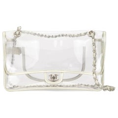 Chanel Transparent Naked Classic Silver Vintage Flap Bag
