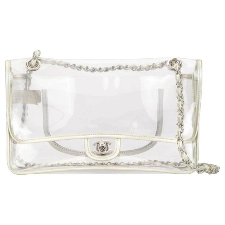 Chanel Transparent Naked Classic Silver Vintage Flap Bag For Sale