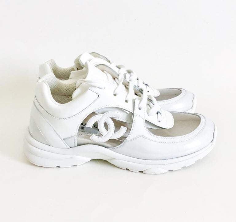 68c22d15dd4369 Gray Chanel Transparent White PVC Trainers Sneakers Size 38 For Sale