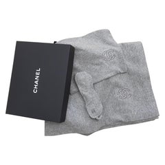 Chanel Travel Set CC Logo Blanket Sleep Eye Mask Pouch Cashmere Wool