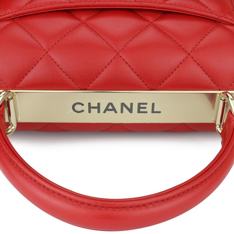 CHANEL Trendy CC Bag Small Red Lambskin with Light Gold Hardware 2020 For Sale 6